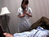 Busty MILF nurse Miina Kanno sucks dick and tit fucks