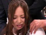 Two guys get sucked off at work by MILF Ruri Saijo picture 11