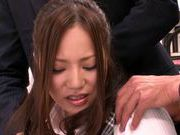 Two guys get sucked off at work by MILF Ruri Saijo