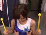 Ayumi Kimino Asian doll gives blowjob in the gym