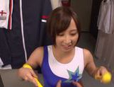 Ayumi Kimino nice Asian cheerleader gives a blowjob picture 9