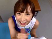 Ayumi Kimino Asian doll gives blowjob in the gymasian girls, asian schoolgirl}