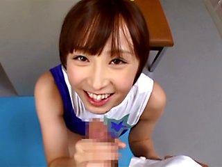 Ayumi Kimino Asian doll gives blowjob in the gym
