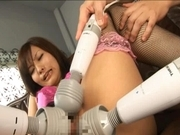 Nao Ayukawa Asian doll in sexy lingerie gets pussy tickled