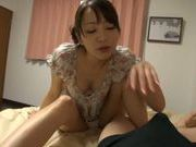 POV footjob is mixed with cock sucking by this Asian model