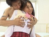 Miho Kanda Asian doll takes off her school uniform and fucks hard picture 3