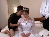 Sexy chick Yuna Mizumoto in wedding dress loving doggysytle picture 2