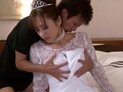 Sexy chick Yuna Mizumoto in wedding dress loving doggysytle