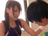 Sexy chick Ria Horisaki nice teen hand work cumshot action picture 10