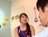 Sexy chick Ria Horisaki nice teen hand work cumshot action picture 12