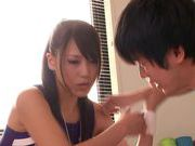 Sexy chick Ria Horisaki nice teen hand work cumshot action