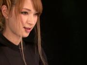 Exquisite Asian stunner Tia rides a cute dildo and sucks cock