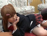 Horny pigtailed schoolgirl Chika Arimura sucks off cock on pov picture 3