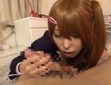 Horny pigtailed schoolgirl Chika Arimura sucks off cock on pov
