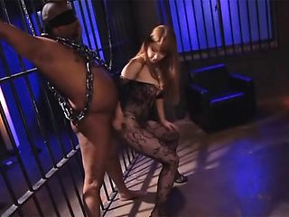 Exquisite Japanese blonde Tia teases hard dick of tied up guy