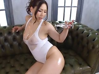 AV model Sayuki Kanno oils her body and tit fucks