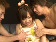 Group action with nice Asian teen Miyo Arakawa
