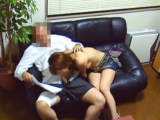Hot Japanese office lady deepthroats and rides cock