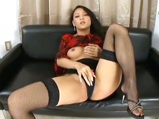 Naughty babe Koi Azumi enjoys solo session