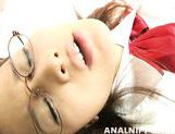 Busty schoolgirl in glasses Yui Shirasagi on Asian anal porn video picture 13