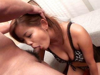 Cute Asian gal in nice lingerie makes oral job on Japanese anal porn