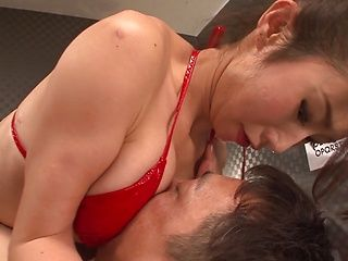 Warm oral from Asian beauty Shinoda Ayumi in red lingerie