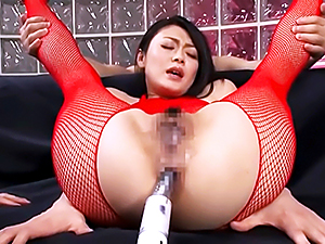 Steaming hottie in red lingerie Kyoko Nakajima enjoys anal penetration