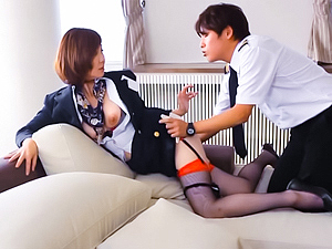 Sexy Japanese stewardess Sayuri Kinsei has anal sex with her pilot
