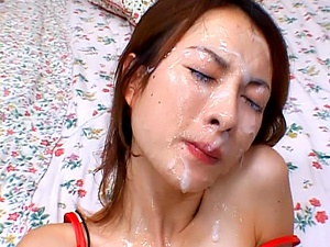 Nene Asian model in hardcore massive bukkake