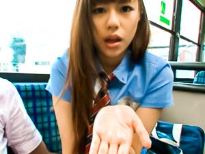 Rina Rukawa hot Asian babe gives a blowjob on a bus