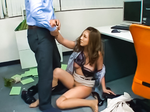 Pretty looking office lady Minori Hatsune gets attacked by horny boss