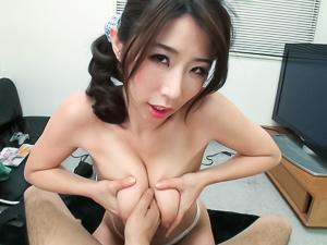 Petite mature amateur milf Ayumi Shinoda enjoys kinky titty fucking