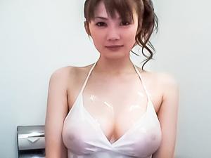 Erika Kirihara Asian model with huge hooters shows hairy pussy