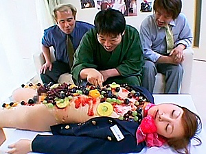 Chihiro Hara Asian doll is covered in fruit