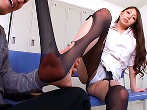 Alluring milf Hina Akiyoshi gets licked and banged in a changing room