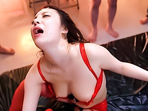 Skinny college chick in red lingerie Ria Kotone in hot gangbang