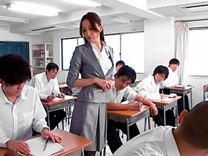 Shameless Japanese teacher Sayuri Honjyou gives great head