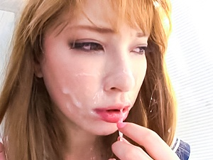 Sad Japanese blondie Tia gets cheered up by a hot gangbang