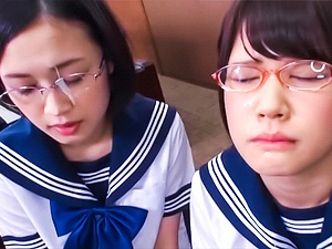 Frisky Tokyo schoolgirls give head and lick ass of a cute guy