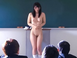 Japanese schoolgirl Ai Uehara gets nude and nasty on a big cock