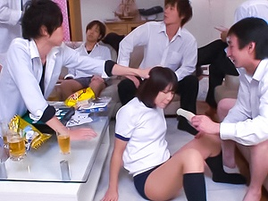 Petite Asian schoolgirl Koharu Aoi enjoys being involved into group sex