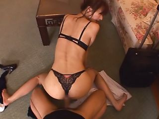 Hot Japanese milf in lingerie gets her pussy pounded and creamed