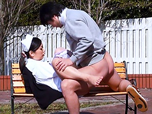 Wild Japanese nurse in sexy pantyhose gets her slit creamed