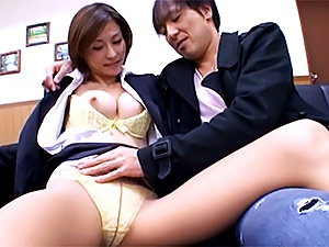 Beautiful office lady Akari Asahina gets pussy fingered