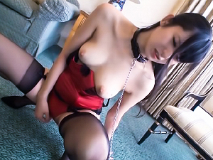 Sexy chained brunette Mira Tamana licks feet and rides cock hard