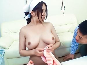 Shameless Asian housewife Meguri gives her horny boss a cute tutfuck