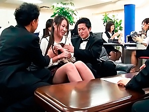 Horny Japanese office lady has sex with her male colleagues in public
