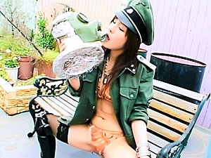 Nao Ayukawa Asian babe in uniform is rubbing her pussy