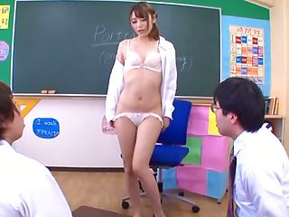 Cute teacher of Art Ayu Sakurai seduces handsome students