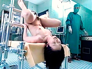 Japanese AV Model wide open as doctor gives an enema